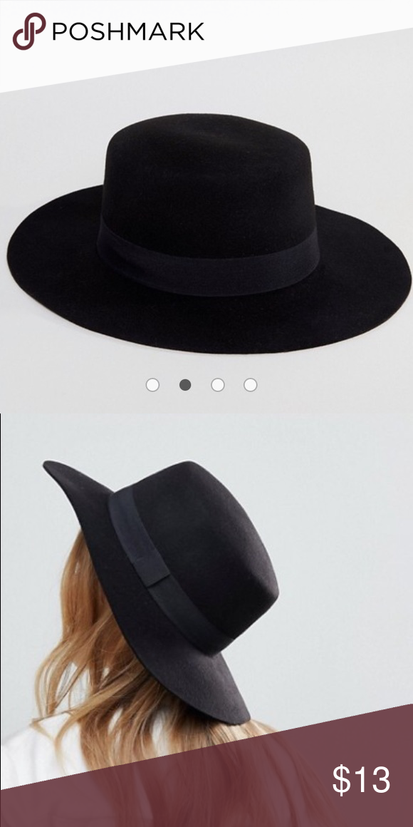 f72401d268a06 ASOS Easy Felt Boater Hat with Size Adjuster Worn once Pure felt wool  Pinched top Wide peak Internal adjuster for improved fit ASOS Accessories  Hats