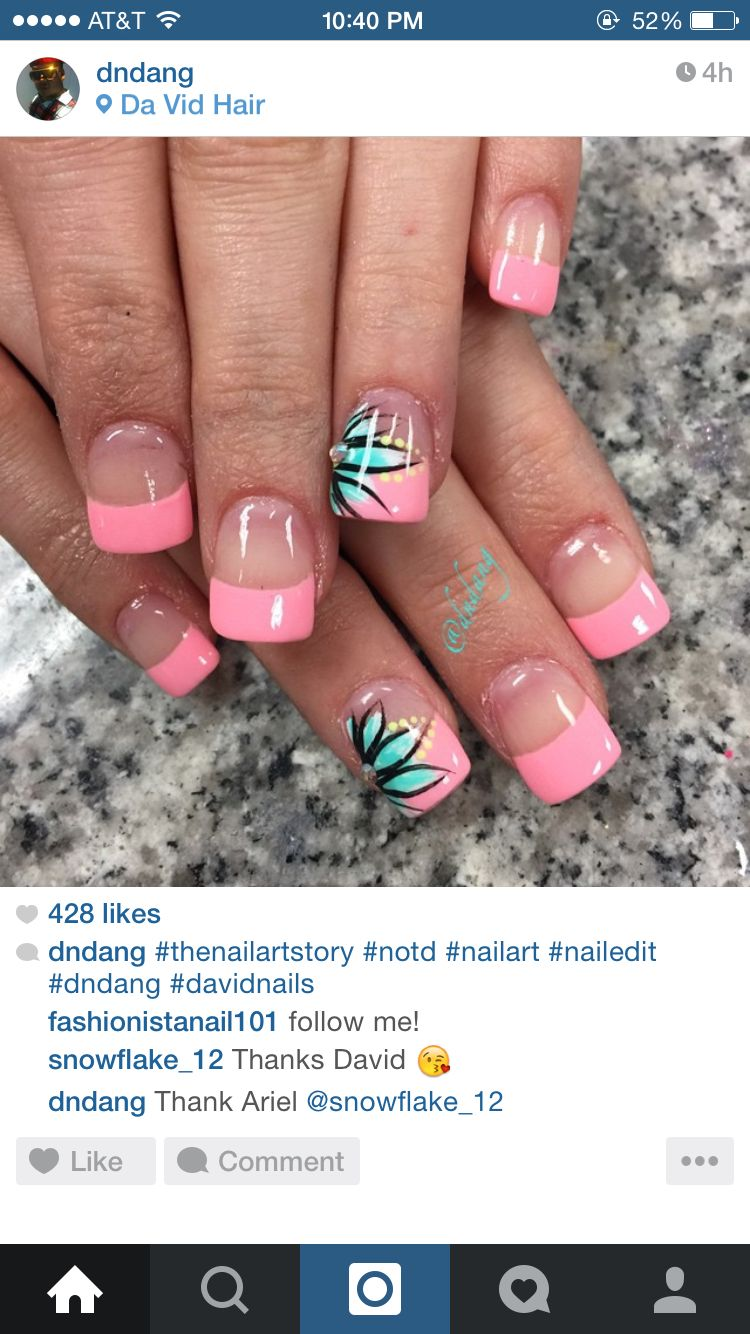 Flower Nails Pink French Nails Toe Nails Flower Nails