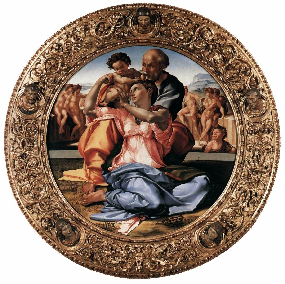 Tondo Doni O Tondo De La Sagrada Familia Con San Juan Bautista 1506 Temple Sobre Tabla Galleria Degli Uffici Arte Renacentista Arte Pinturas Renacentistas