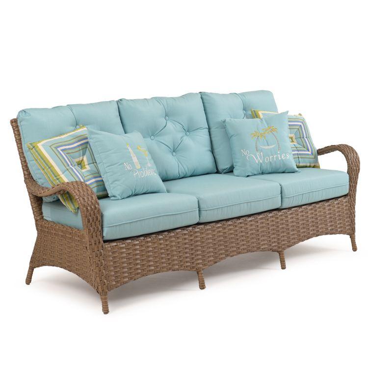 Kokomo Outdoor Wicker Sofa Oyster Grey   Leaders Casual Furniture