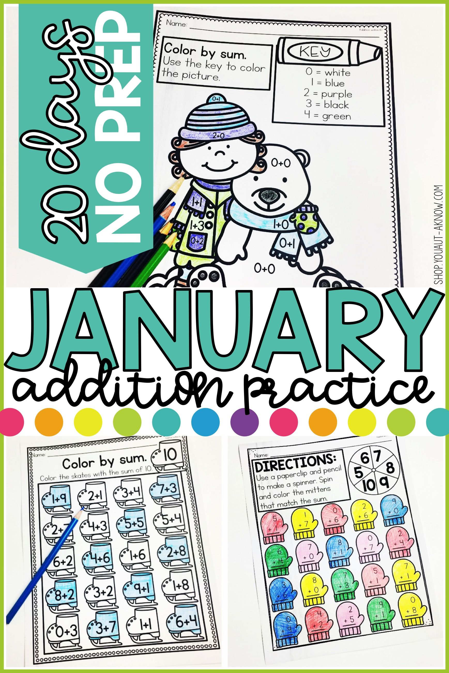 Addition Within 10 Practice Work Pages JANUARY EDITION   Worksheets ...