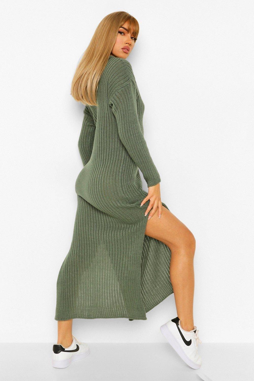 Hooded Rib Knit Midi Dress Boohoo Sweater Dress Midi Knitwear Dress Ribbed Sweater Dress [ 1500 x 1000 Pixel ]