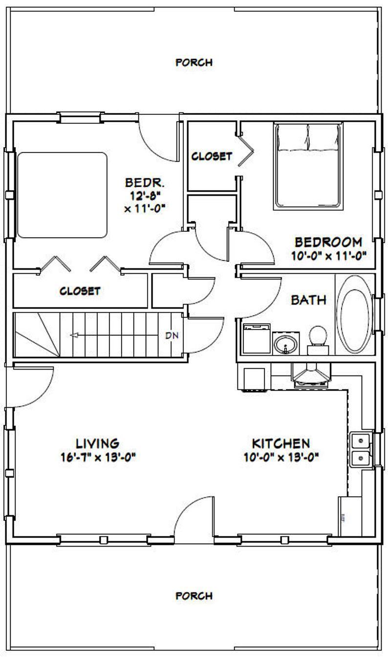 28x32 House 2Bedroom 1Bath 848 sq ft PDF Floor Plan