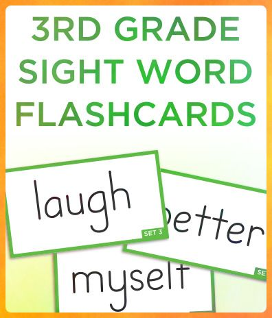 Free third grade Dolch sight word flashcards Each page contains