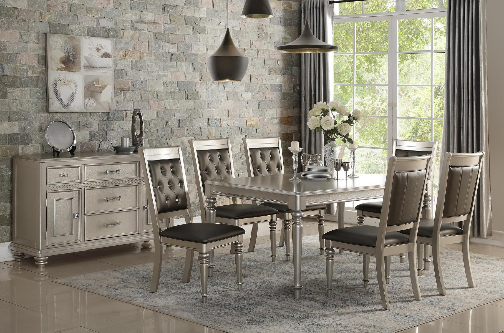 Poundex P2431 Silver Finish Glam Style Rectangular Table Dining