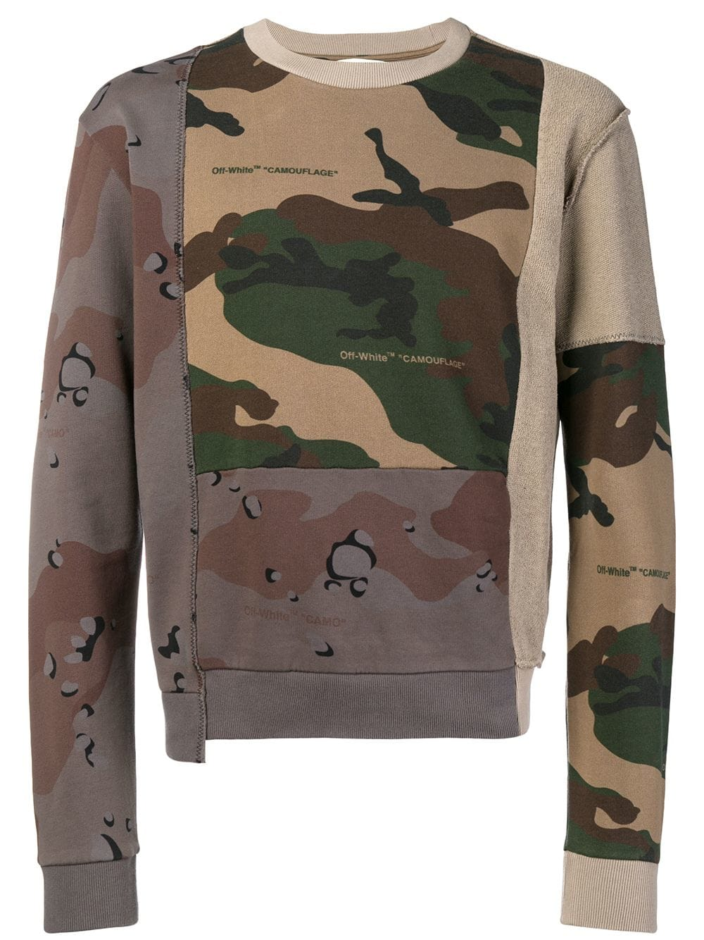 Off White Reconstructed Camouflage Print Sweatshirt Farfetch Printed Sweatshirts Sweatshirts Cotton Sweatshirts [ 1334 x 1000 Pixel ]