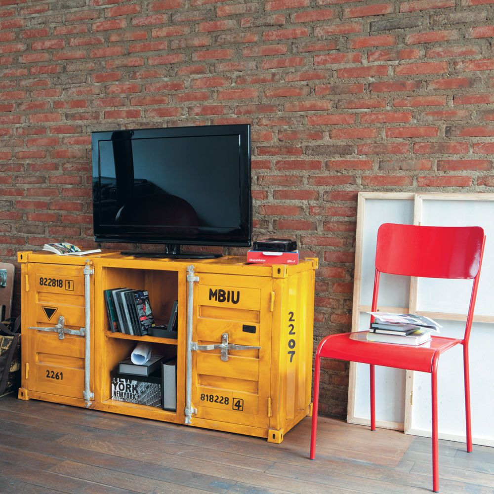meuble tv container en m tal jaune l 129 cm container. Black Bedroom Furniture Sets. Home Design Ideas