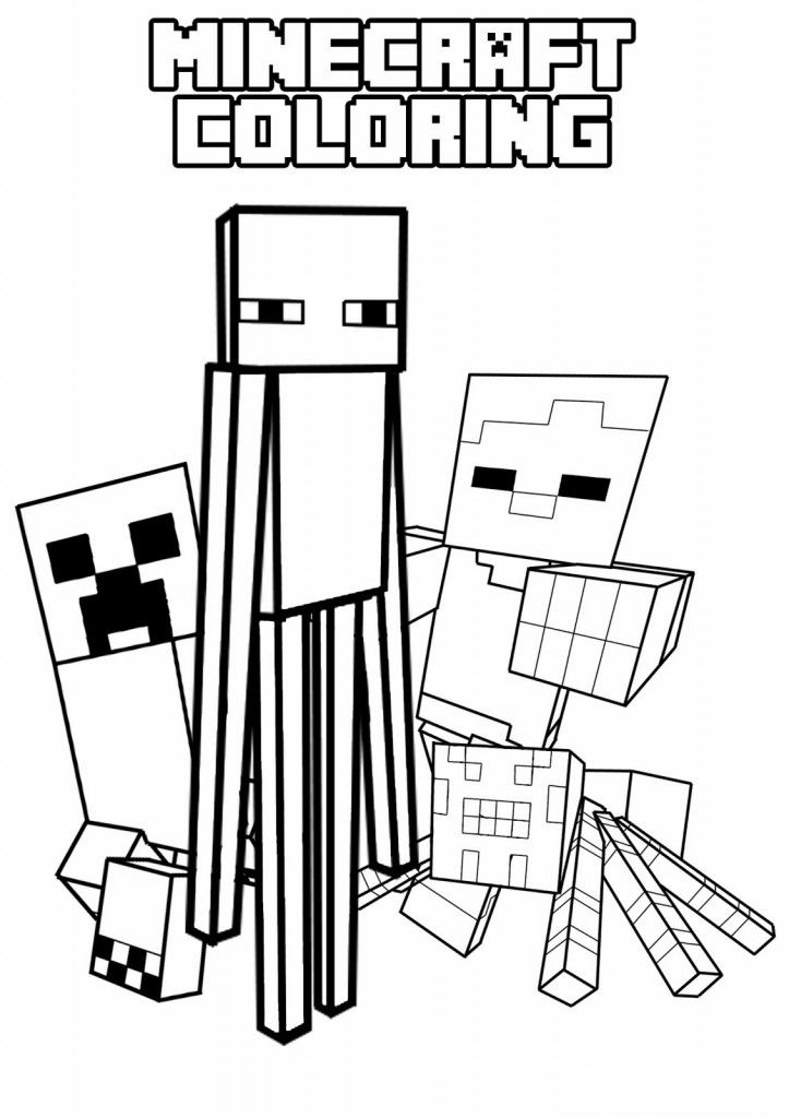 Creeper Enderman Spider and Villager mob pictures to print