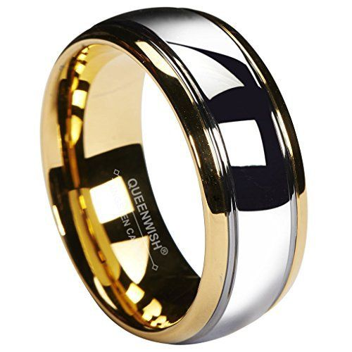 QUEENWISH® 8mm Tungsten Carbide Wedding Band Gold Silver Dome Gunmetal Bridal Ring Men Jewelry Size 6-13