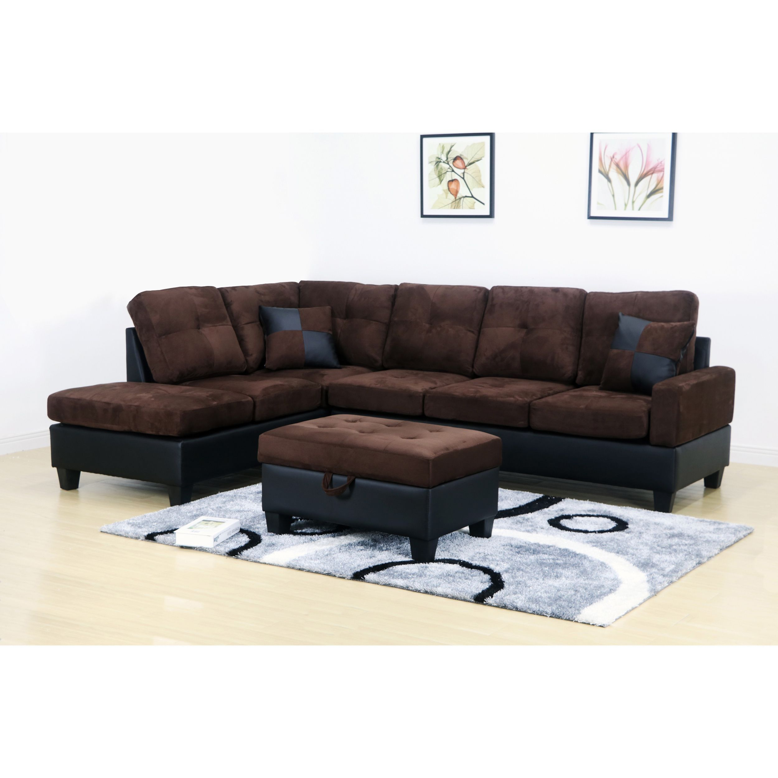 Charlie Dark Brown Microfiber Sectional Sofa And Storage Ottoman (Left  Chaise), Black (Faux Leather)