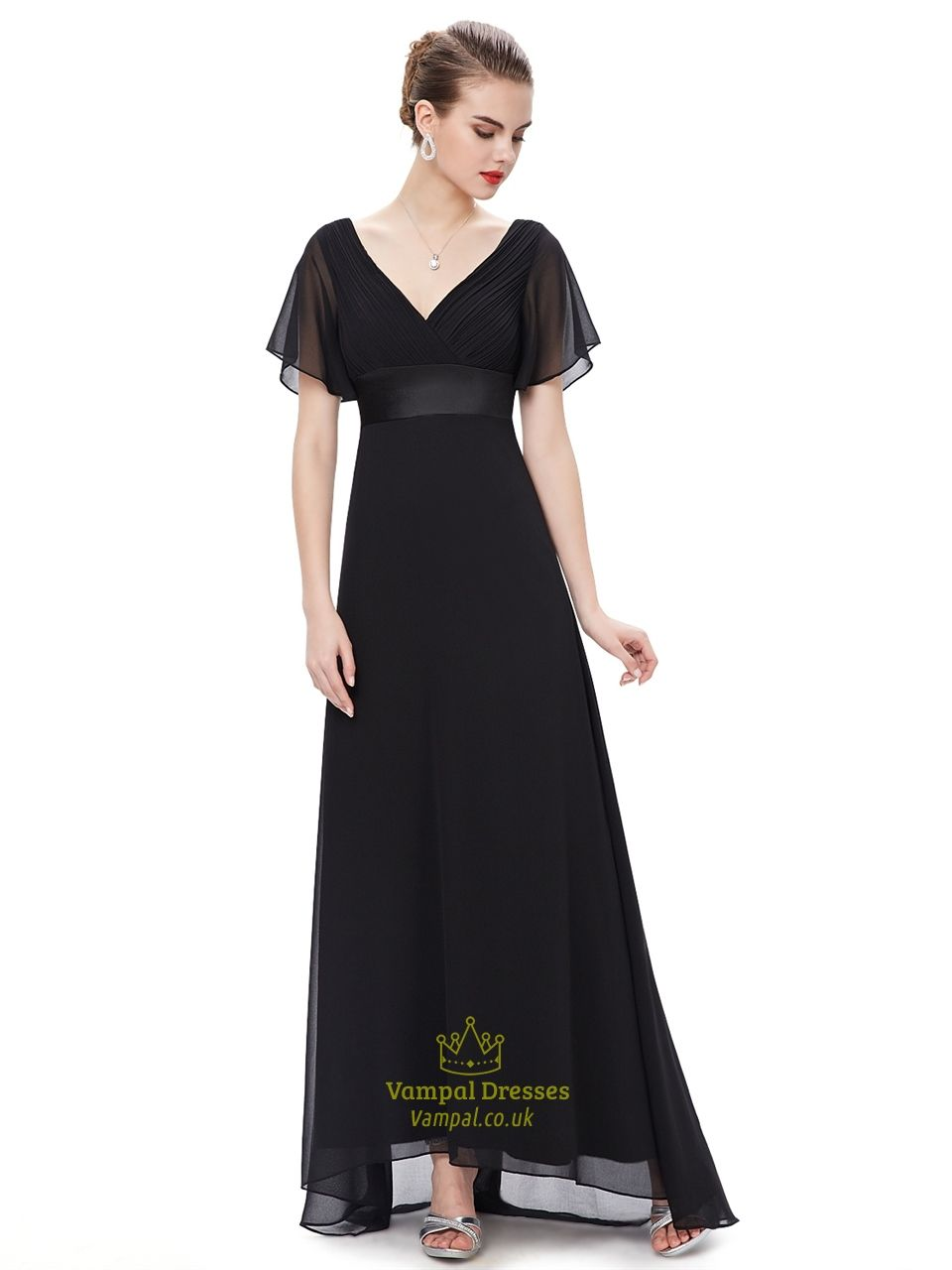 Black v neck chiffon long bridesmaid dress with flutter sleeves