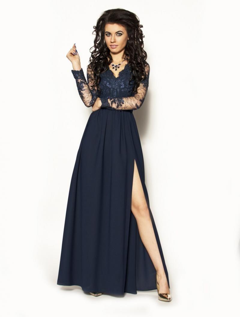 c6882b61bbacd1 Długa elegancka granatowa sukienka z rękawkiem Model:KM-2297A [335.00zł] -  Maxi / Sukienki - Sklep internetowy - Sukienkimm.pl