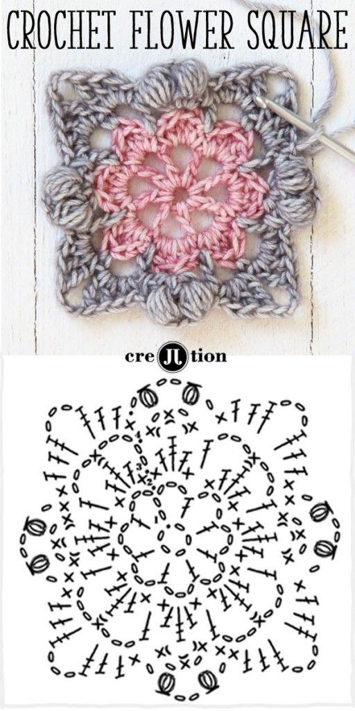 diagrama y la imagen crochet patrón cuadrado flor por creJJtion ...
