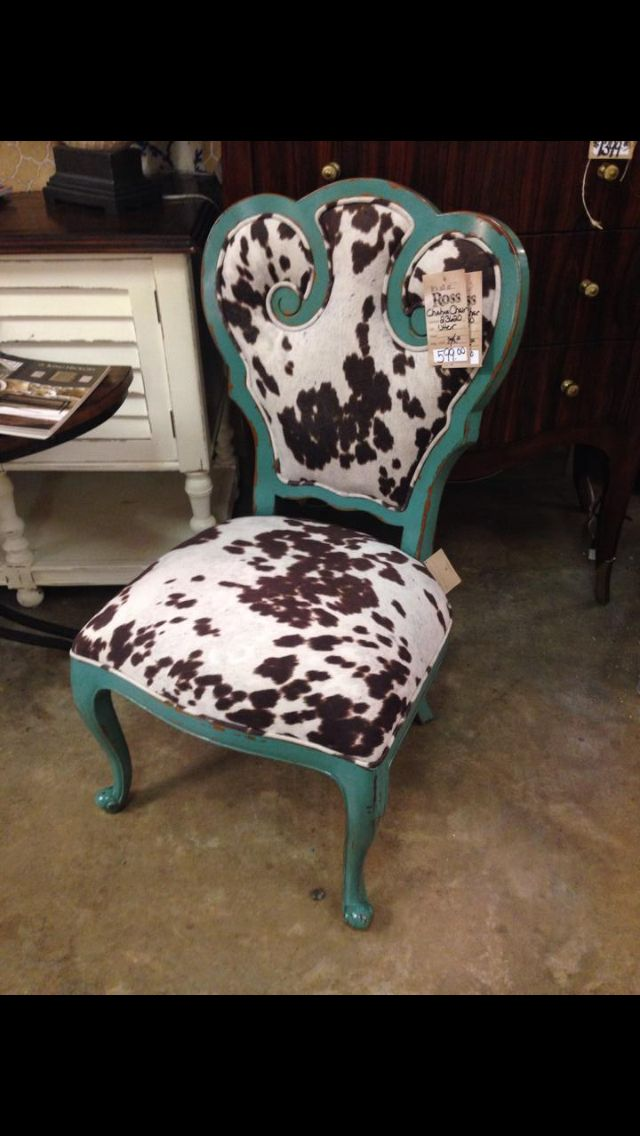 Cowhide Turquoise Dining Room Chair Ross Furniture Pearl Ms