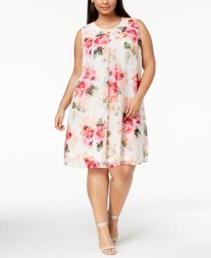 Calvin Klein Plus Size Floral Print Trapeze Dress Orange