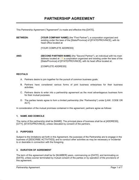 Partnership Agreement  Template  Sample Form  BiztreeCom