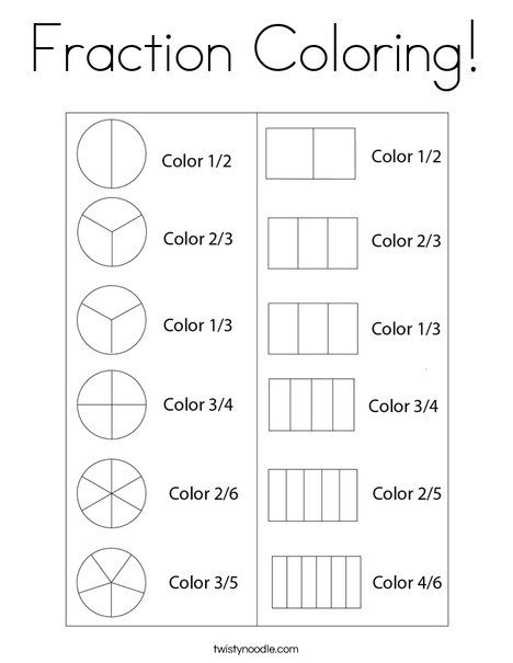 Fraction Coloring Coloring Page Twisty Noodle Fractions Fractions Worksheets Homeschool Math