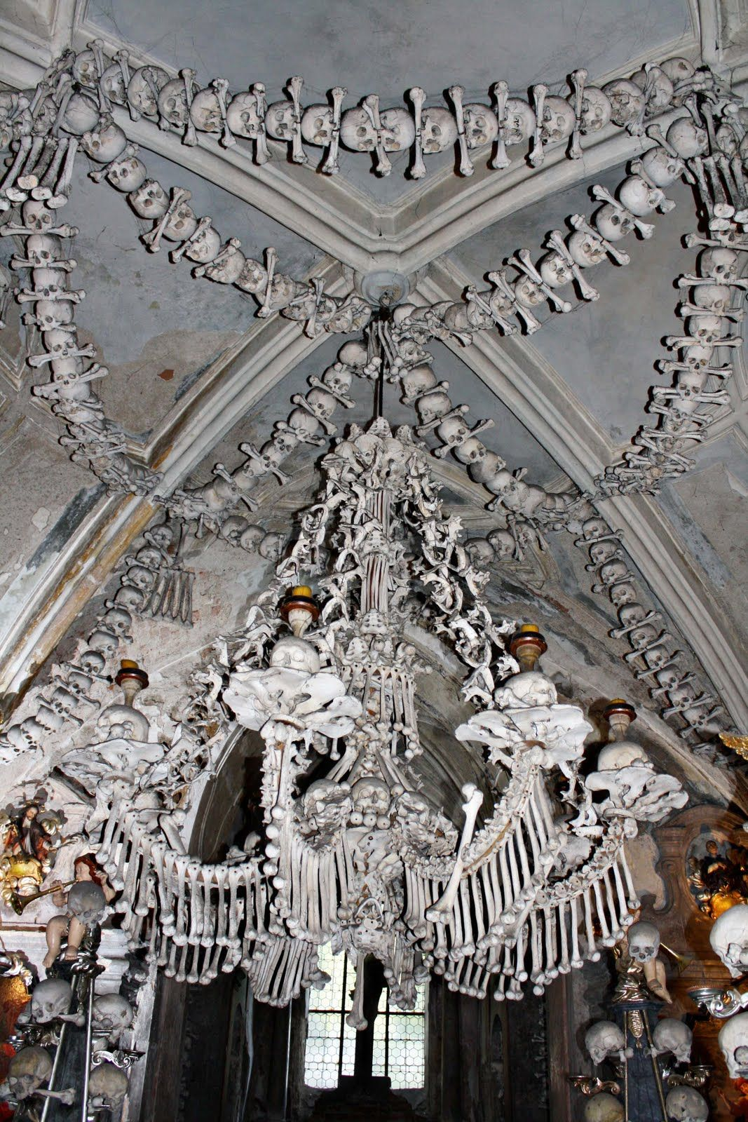 A Chandelier Made Of Human Bone On Display At The Sedlec Church In Prague
