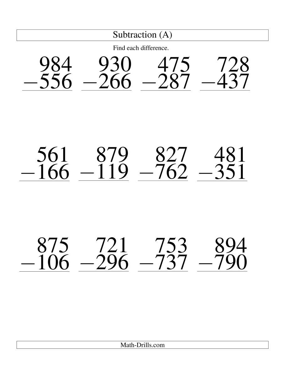 The Three Digit Minus Three Digit Subtraction Large Print A Math Worksheet In 2021 Subtraction Worksheets Math Worksheet