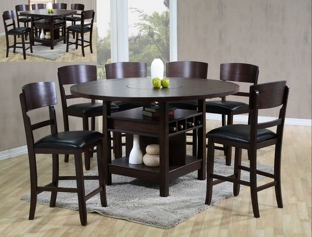 Barron S Furniture And Appliance Counter Height Dinning Furniture Crown Mark Table Round Dining Table Sets Dining Table With Storage Brown Wood Dining Table