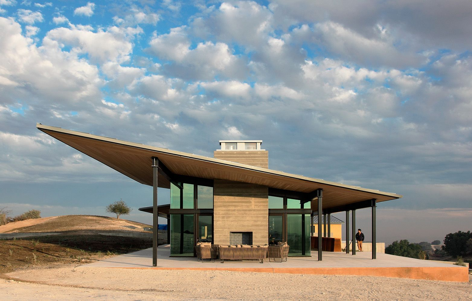 Designed by BAR Architects, a cantilevered roof is a focal