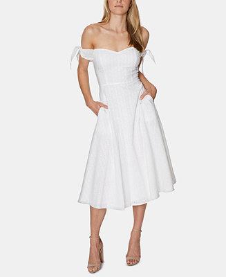 Avec Les Filles Eyelet Off The Shoulder Midi Dress Reviews Dresses Women Macy S Dresses Womens Dresses Midi Dress