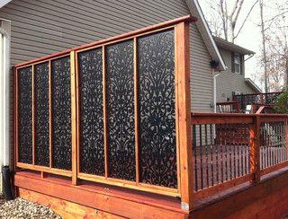decks eclectic porch privacy  acurio latticework