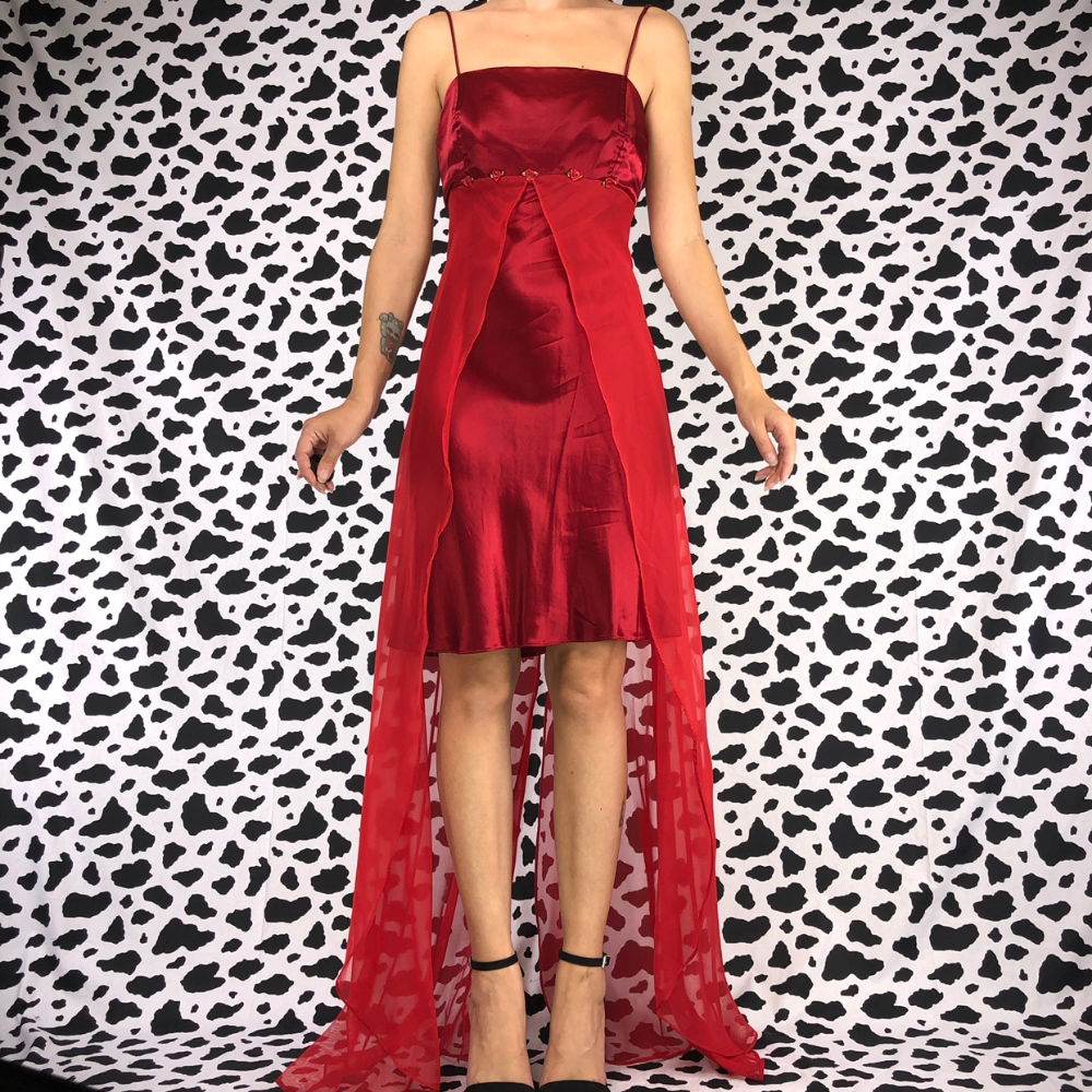 Vintage 90s Red Satin Rosebud Gown In Gorgeous Depop Prom Party Dresses Under Dress Gowns [ 1000 x 1000 Pixel ]