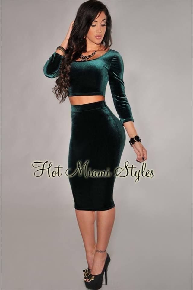 cf103fff7b0 Two piece set high waist skirt and crop top green