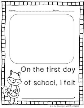 1st Day Of School Literacy Amp Math Activities For The