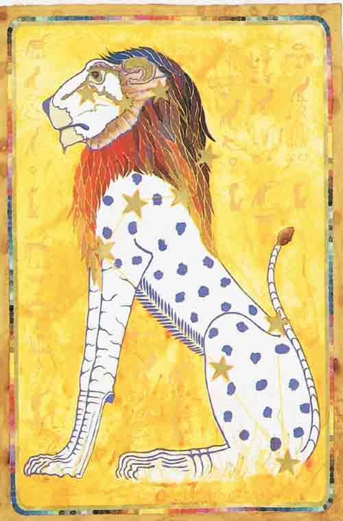 Menig kunstenaar verbeeldt een sterrenbeeld(en) in zijn kunstwerken    Afbeelding: Leeuw – Leo – An Egyptian Zodiac (From 15e Dynasty revisited)  Datum : 23 juli – 22 augustus  Design: Kantaro, mixed media on paper , 42 x 60 cm, 1990 Postkaart www.postersquare.com    LEEUW  Vuur  Planeten: Zon  Rijpheid  Eigenschappen: Individualisme, wil, zelfverzekerdheid, kracht, autoriteit, volheid