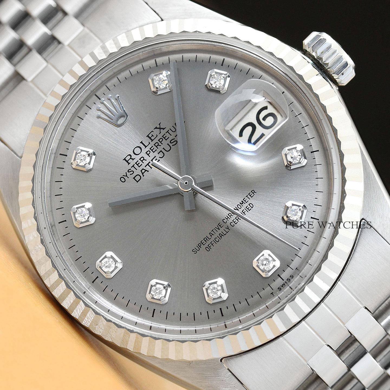45d339b68a13c Para hombre ROLEX Datejust Gris Diamante Dial 18K Blanco Oro Y Acero  Inoxidable Reloj