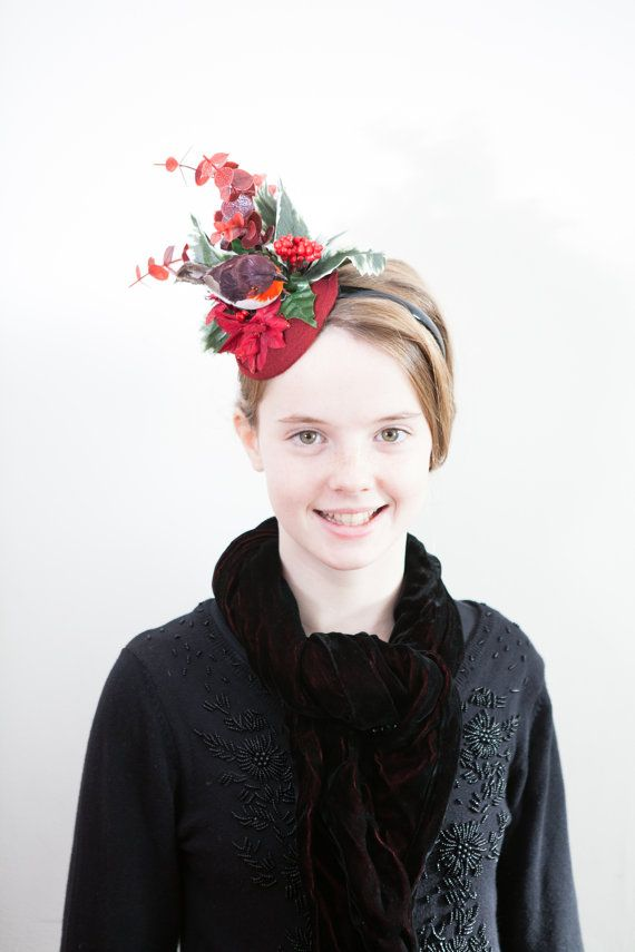 red robin christmas fascinator womens party by roseredrosewhite a 22 00