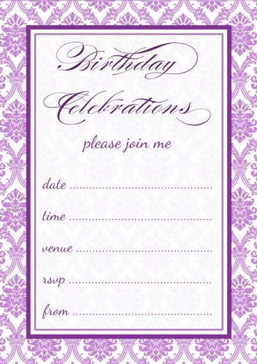 free printable purple damask party