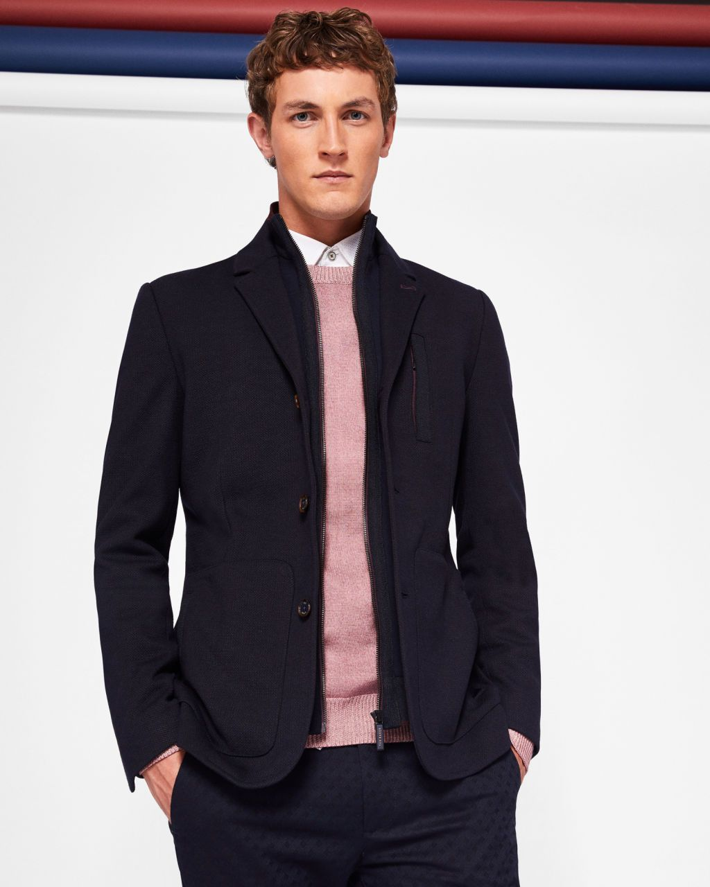cb231196016a Ted Baker Roy - Jersey jacket with inner funnel neck