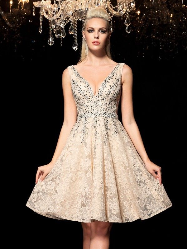 6e9f95cb020 A-Line/Princess V-neck Beading Sleeveless Short Lace Cocktail Dresses -  Homecoming Dresses - Hebeos Online, Spring, Summer, Fall, Winter, Lace,  V-neck, ...
