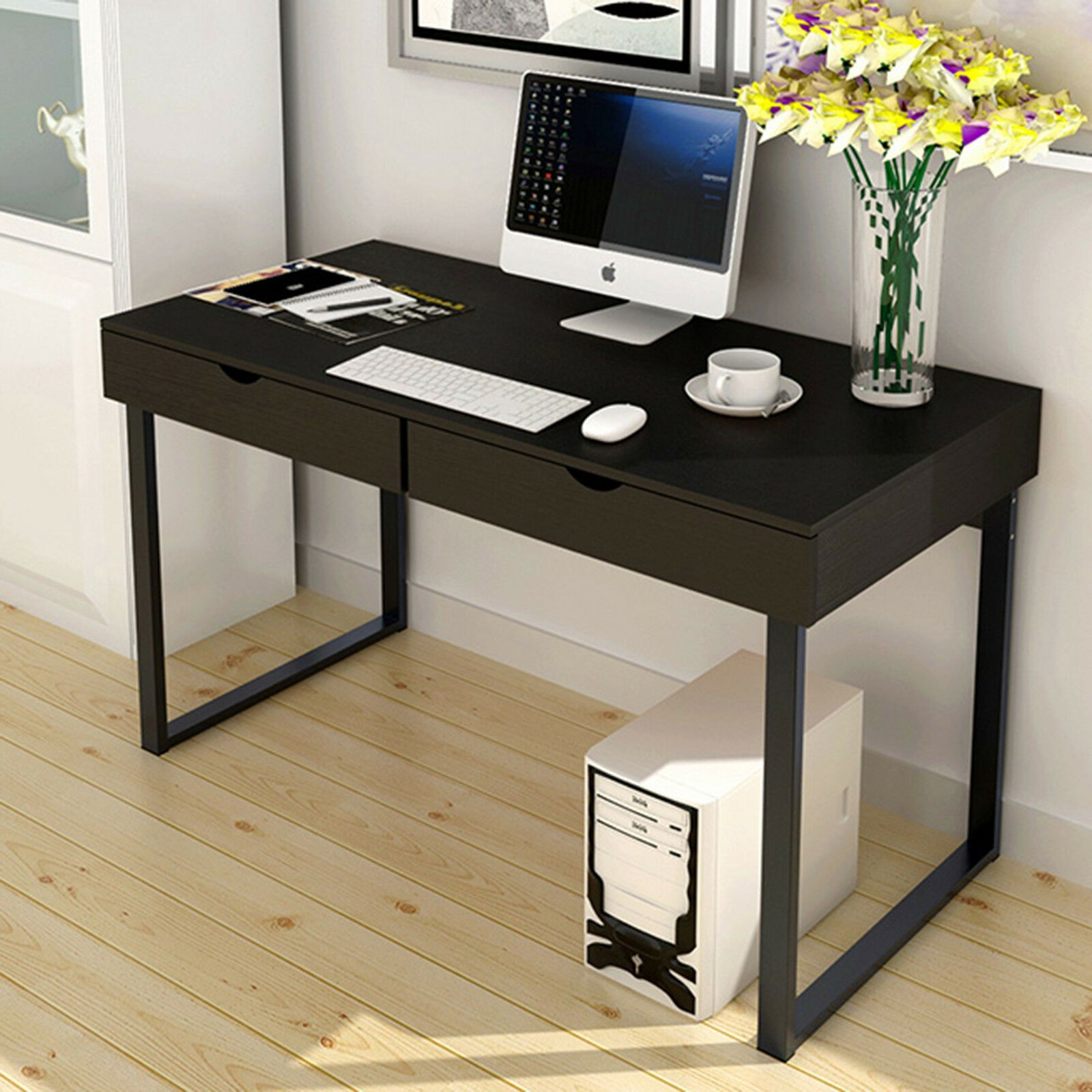 Black Computer Desk Study Table Pc Laptop Workstation Home Office Furniture Wood Workstation Office Ideas Of Workstation Office Workstationo Ikea Feng Shui