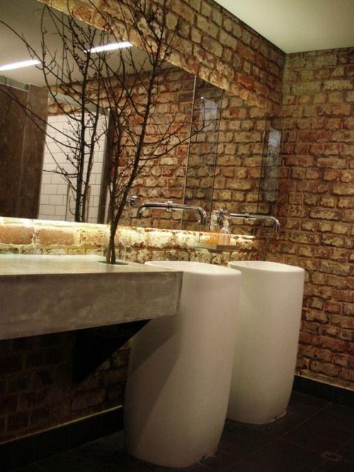 La Salle De Bains En Brique Rouge En  Exemples  Brique Rouge Mur