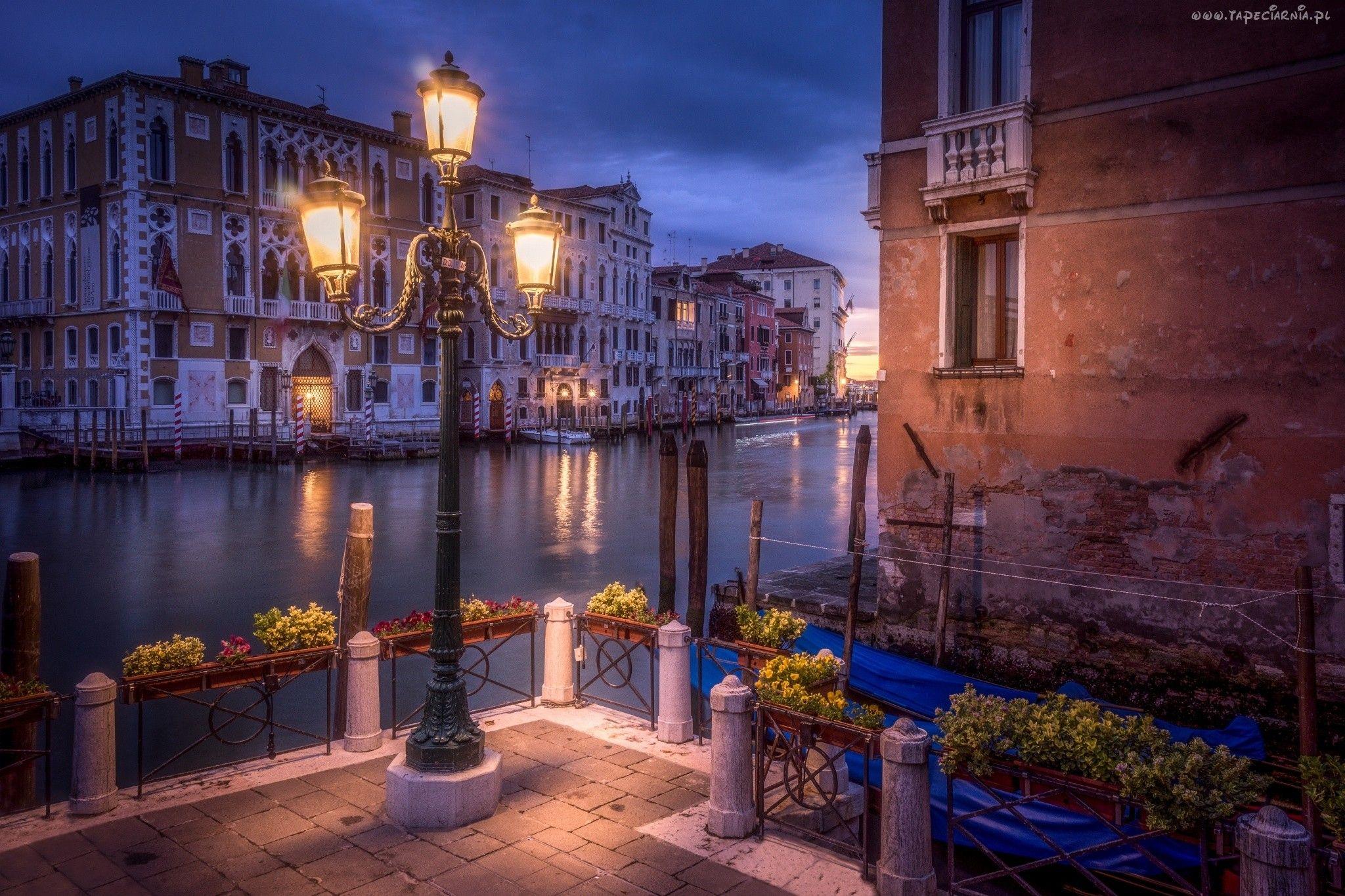 Wenecja, Włochy, Domy, Kanał, Miasto Nocą