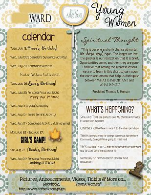 Yw Newsletters And Other Ideas For Handouts Thank You Gifts Etc