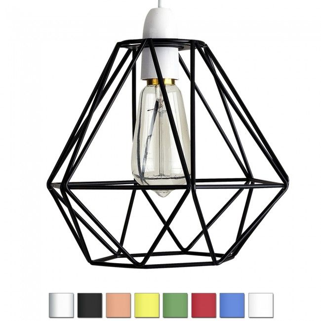 Industrial Style Diablo Wire Frame Polygon Diamond Pendant Shade