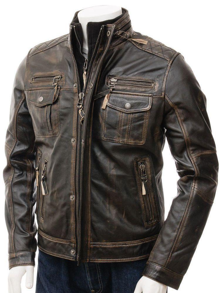 Mens Biker Slim Fit Motorcycle Racer Brown Real Leather Jacket