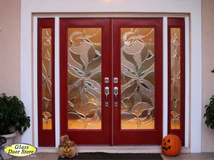 Doors Design: Red Double Front Entry Doors With Double Sidelights. Tampa