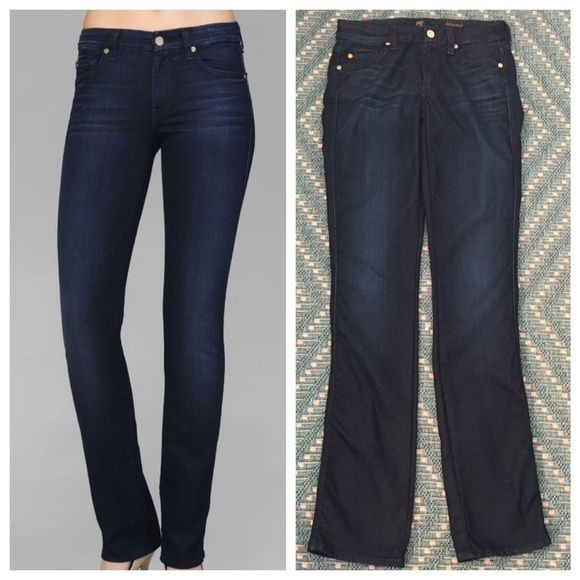 """⭐️FINAL PRICE⭐️ 7 for All Mankind Kimmie Straight From 7FAM: """"The Kimmy Curvy Straight Leg has a contoured waistband to enhance a curvier body. Reflective Night Star is crafted on our high sheen denim.  This dark blue indigo wash features subtle hand sanding.""""  Front Rise: 6 1/2"""" Back Rise: 11 7/8"""" Inseam: 33"""" Leg Opening: 14 1/2"""" 7 for all Mankind Jeans Straight Leg"""