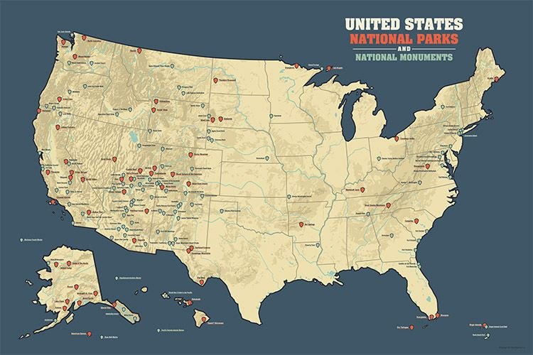 US National Parks & Monuments Poster Map BestMapsEver