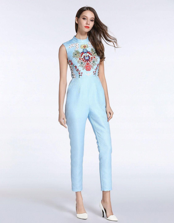 Comino Couture Kombinezon Niebieski Kwiaty 40 L 12 7897857277 Oficjalne Archiwum Allegro Embellished Jumpsuit Jumpsuit Couture