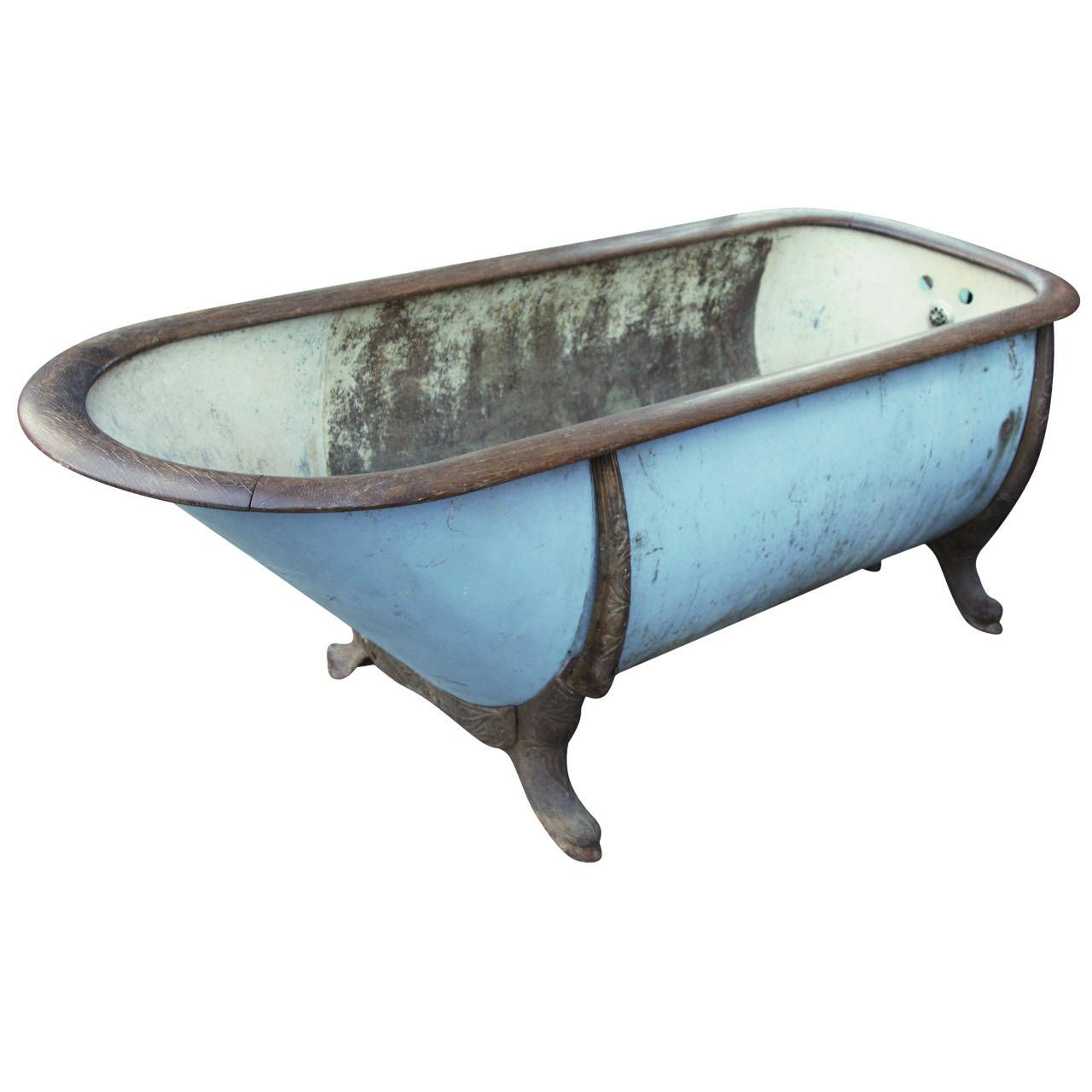 Late 1800s Zinc and Cast Iron Bathtub with Oak Trim from Lowa ...