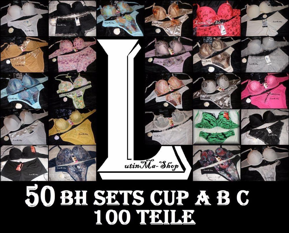 huge discount 45572 6ebb5 100 Teile Wäsche 50 x BH Sets Paket Cup A B Restposten ...
