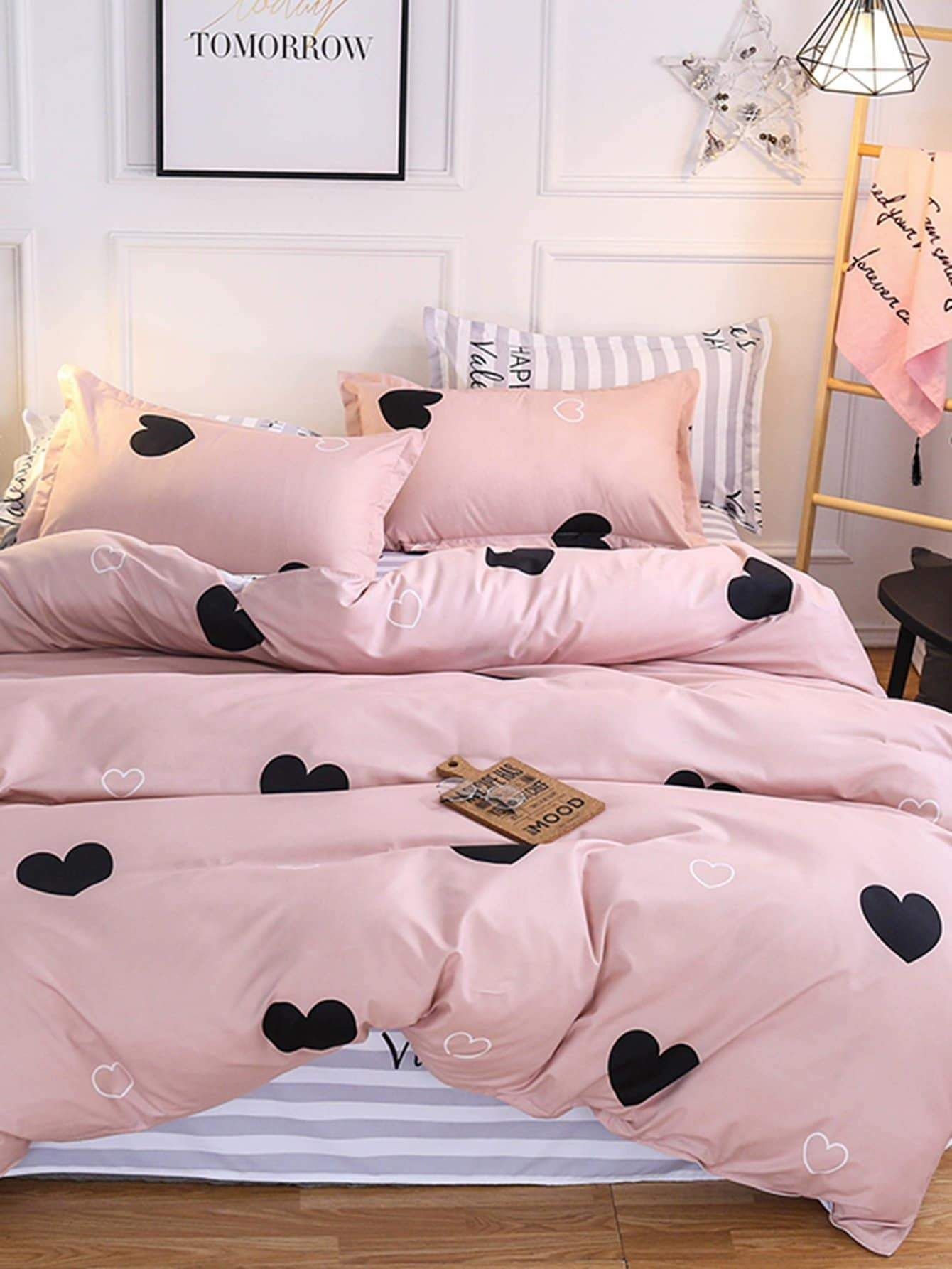 Heart Print Sheet Set in 2020 (With images) Cheap bed