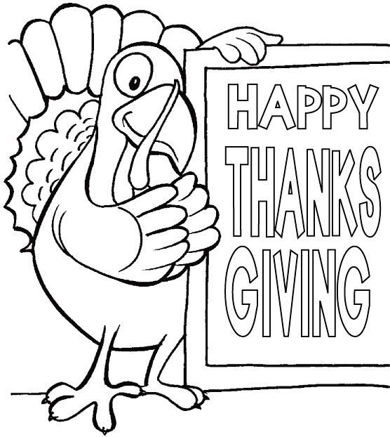 a turkey for thanksgiving coloring pages. happy thanksgiving sign to color  Thanksgiving coloring page 7 Free printable